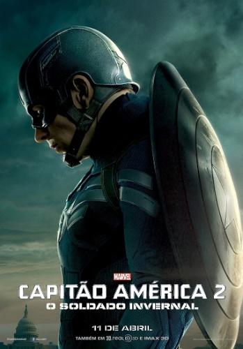 """Cartaz de """"Capitão América 2: O Soldado Invernal"""" mostra Chris Evans no papel de Steve Rogers"""