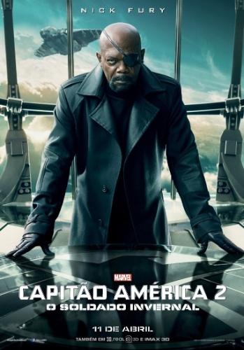 """Cartaz de """"Capitão América 2: O Soldado Invernal"""" mostra Samuel L. Jackson no papel de Nick Fury"""