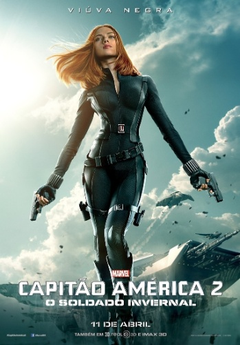 """Cartaz de """"Capitão América 2: O Soldado Invernal"""" mostra Scarlett Johansson no papel de Viúva Negra"""