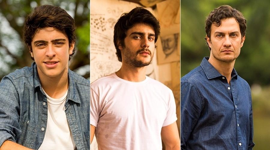 """Eike Duarte, Guilherme Leicam e Gabriel Braga Nunes interpretam Laerte em """"Em Família"""""""