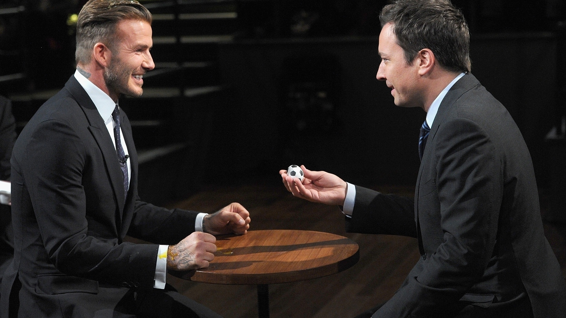 31.jan.2014 - David Beckham vai ao programa