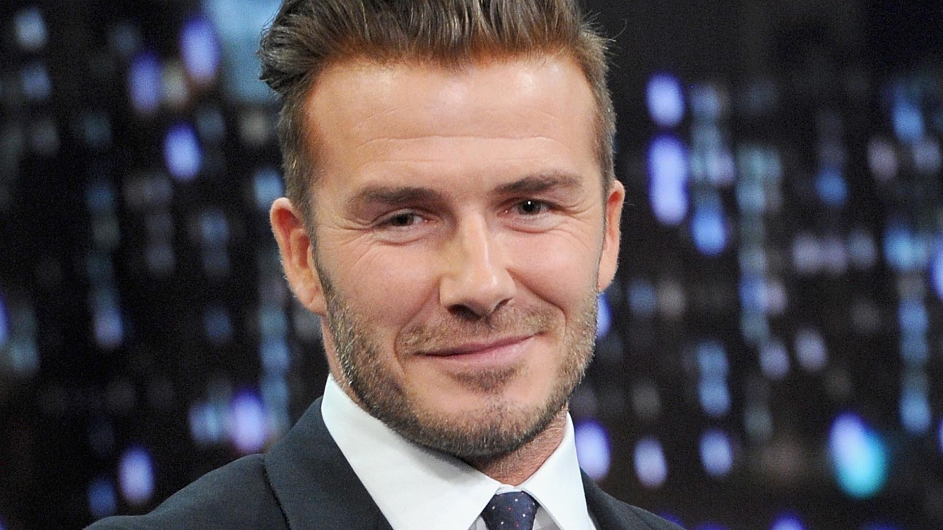 31.jan.2014 - O ex-jogador de futebol inglês David Beckham participa do programa
