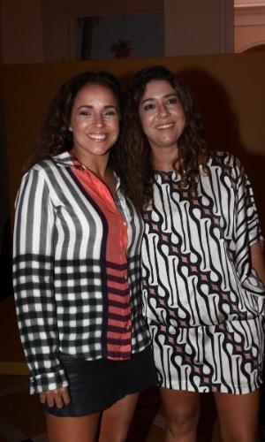 """2.fev.2014 - Daniela Mercury e a mulher, Malu Verçosa, na festa da novela """"Em Família"""""""