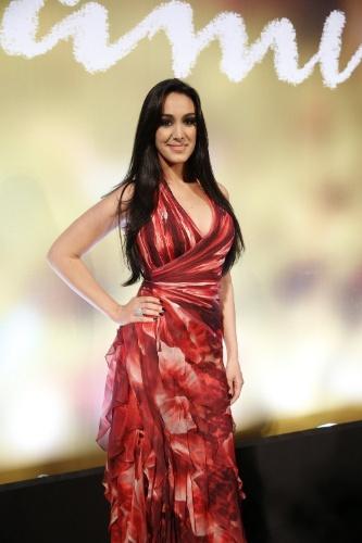 "2.fev.2014 - Marina Elali na festa da novela ""Em Família"""