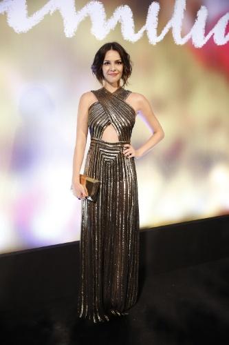 "2.fev.2014 -  Taína Muller na festa da novela ""Em Família"""