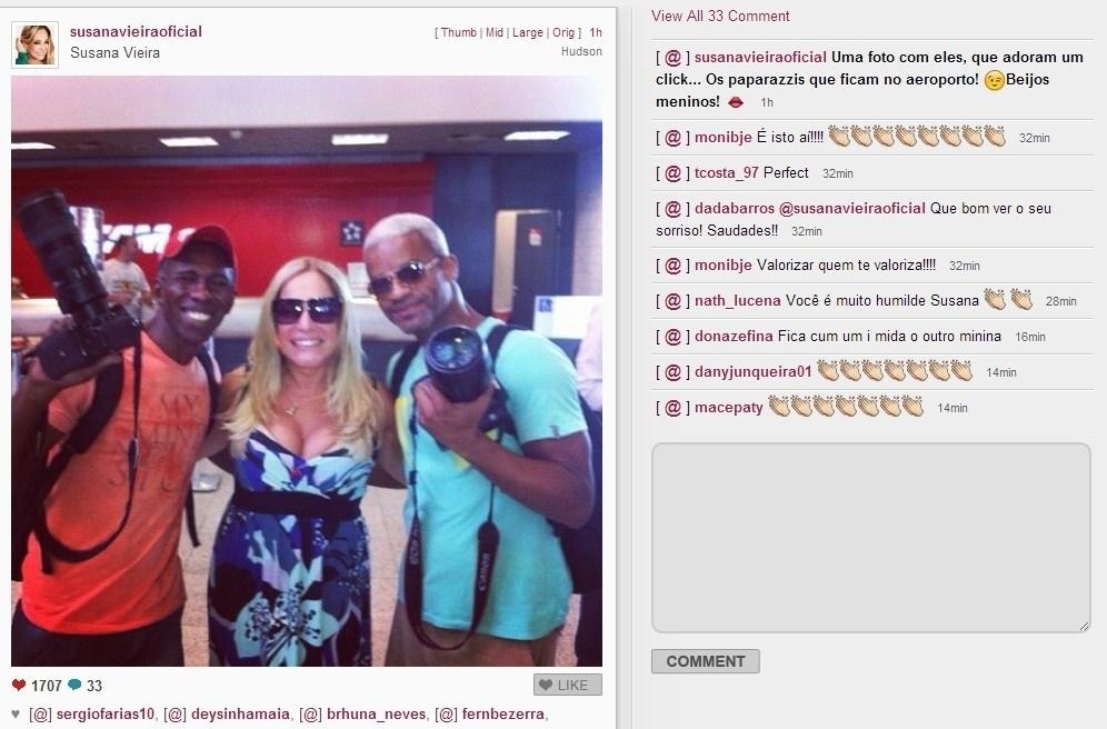 04.fev.2014 - Simpática, Susana Vieira posa com paparazzis e dilvulga imagem em sua conta no Instagram.