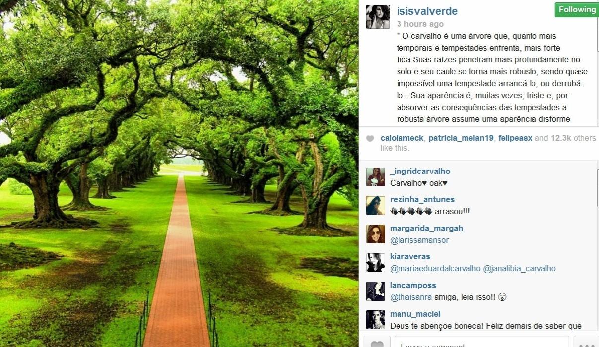 04.fev.2014- Isis Valverde tranquiliza fãs com mensagem no Instagram após acidente