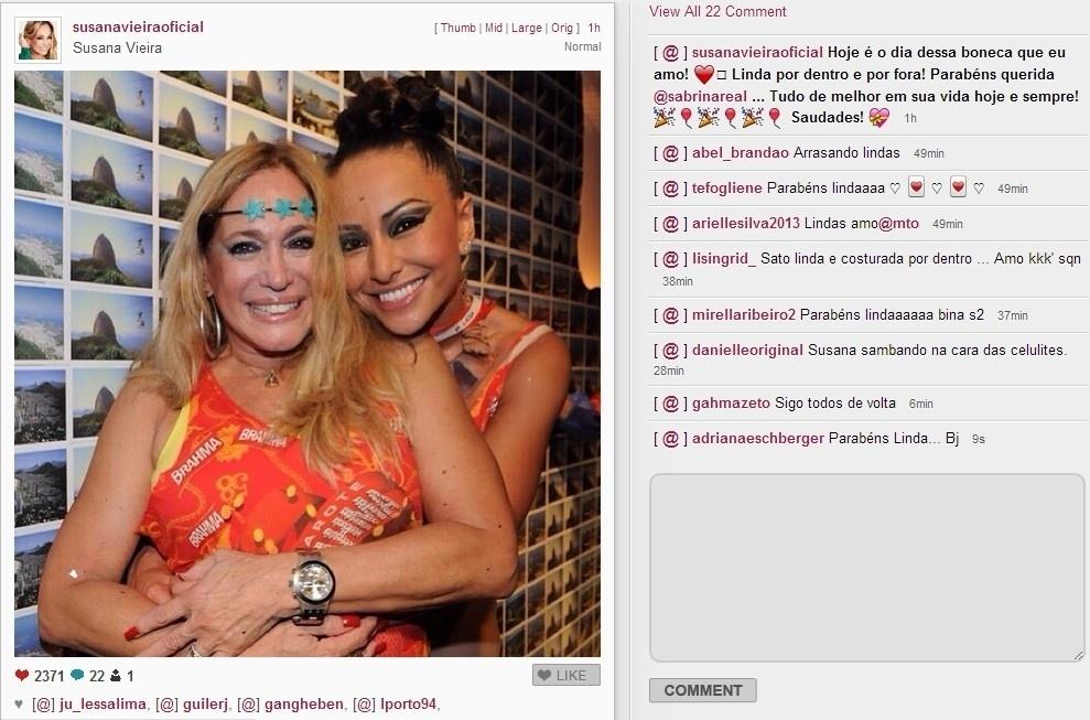 4.fev.2014 - Em seu Instagram Susana Vieira parabeniza Sabrina Sato por seus 33 anos. A atriz usou a conta para divulgar foto das duas se abraçando e escreveu: