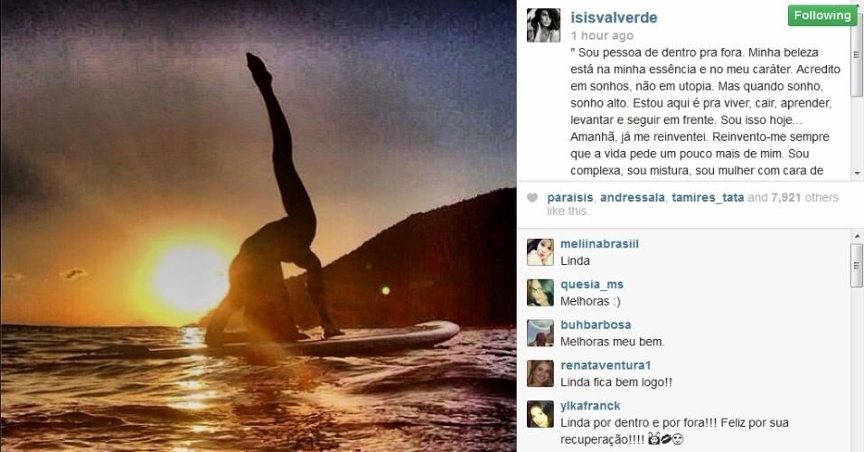 4.fev.2014 - Isis Valverde faz primeira publicação em rede social após acidente