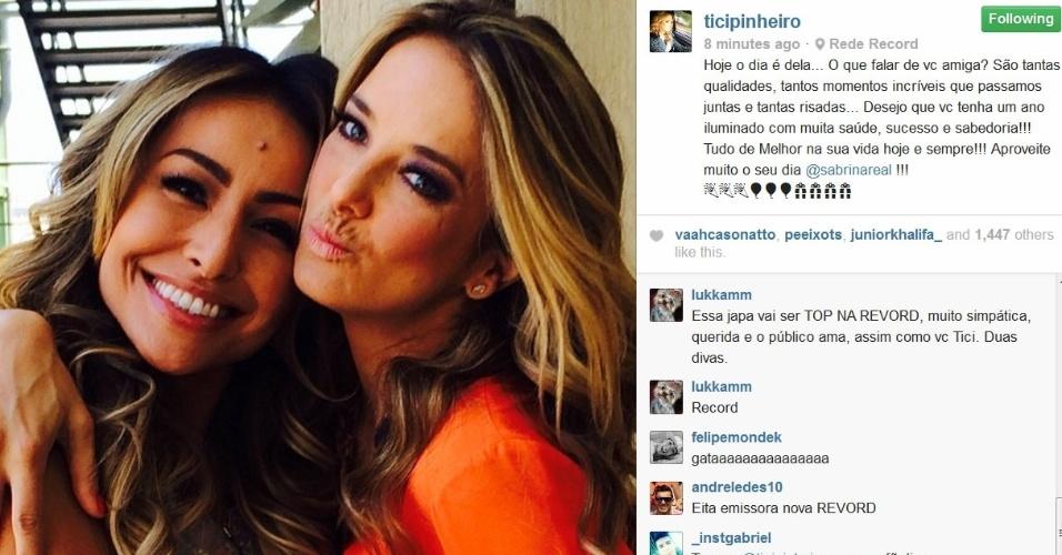Ticiane Pinheiro também deixou uma mensagem para a japa no Instagram.