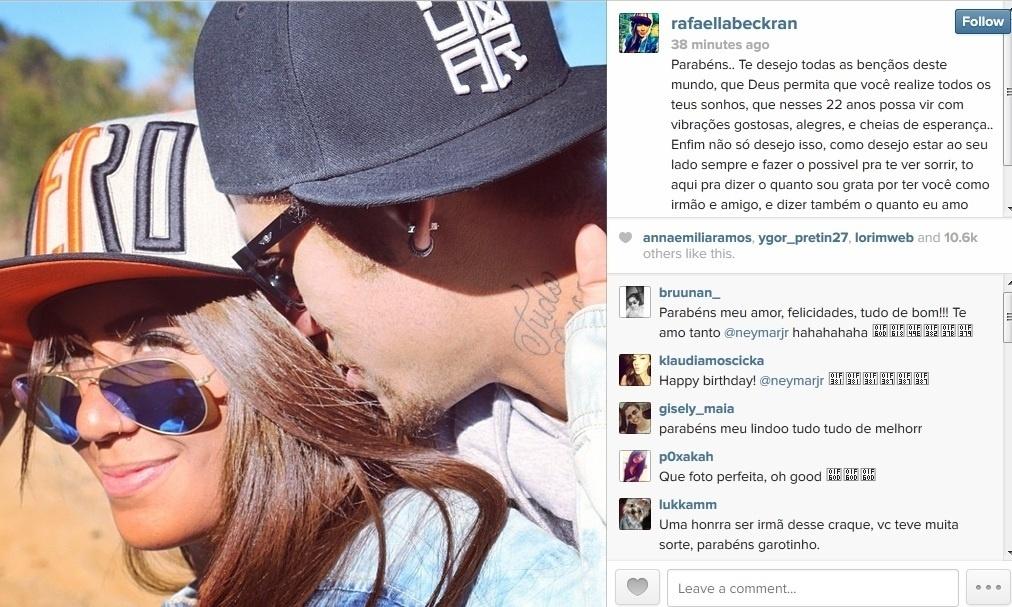 5.fev.2014 - Rafaella Santos, irmã de Neymar, parabenizou o jogador pelos 22 anos completados