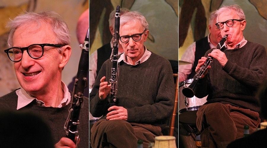 5.fev.2014 - Woody Allen se apresentou com sua banda de jazz no hotel Carlyle, em Nova York, para cerca de 70 convidados. O cineasta e músico tocou a música