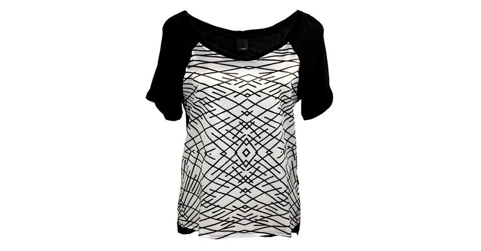 Blusa em preto e branco e grafismos; R$ 158, na Sacada (www.sacada.com) Preço pesquisado em janeiro de 2014 e sujeito a alterações
