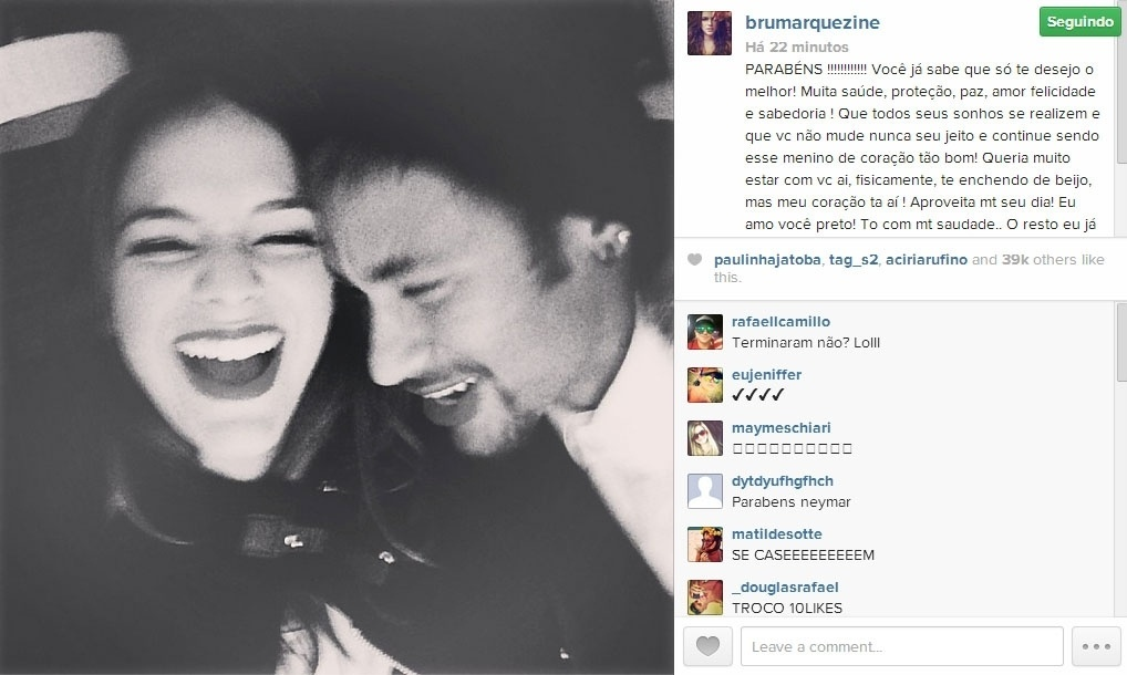 Bruna Marquezine posta foto ao lado de Neymar e deseja feliz aniversário para o amado