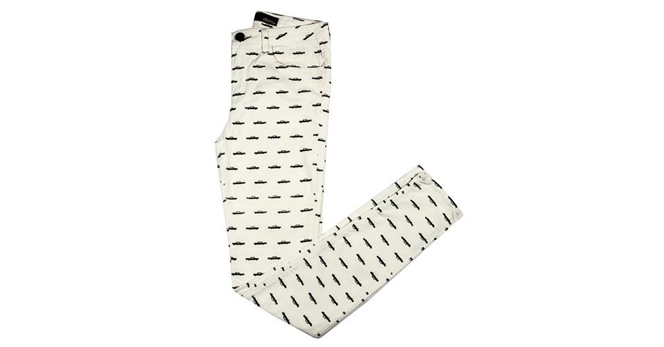 Calça com estampa de cadillacs; R$ 209, na Dress To (www.dressto.com.br) Preço pesquisado em janeiro de 2014 e sujeito a alterações