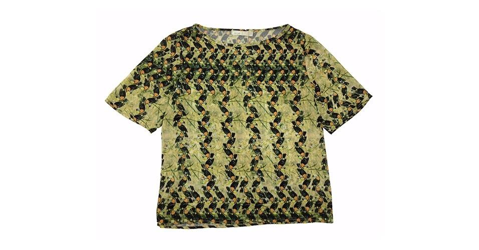 Camiseta com estampa de tucanos; R$ 259, na Cavendish (www.cavendish.com.br) Preço pesquisado em janeiro de 2014 e sujeito a alterações