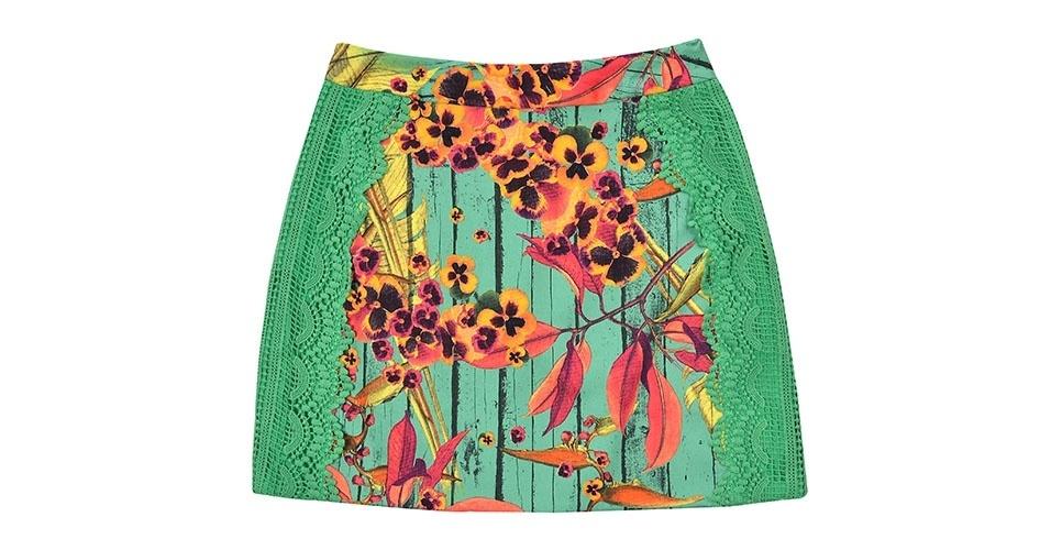 Saia com bordado e estampa de flores; R$ 179, na Dress To (www.dressto.com.br) Preço pesquisado em janeiro de 2014 e sujeito a alterações