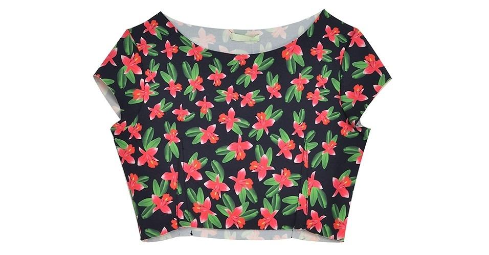 Top cropped com estampa floral; R$119,00, na Dress To (www.dressto.com.br) Preço pesquisado em janeiro de 2014 e sujeito a alterações