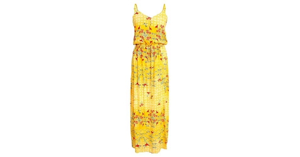 Vestido amarelo estampado; R$ 309, na Eclectic (www.eclectic.com.br) Preço pesquisado em janeiro de 2014 e sujeito a alterações