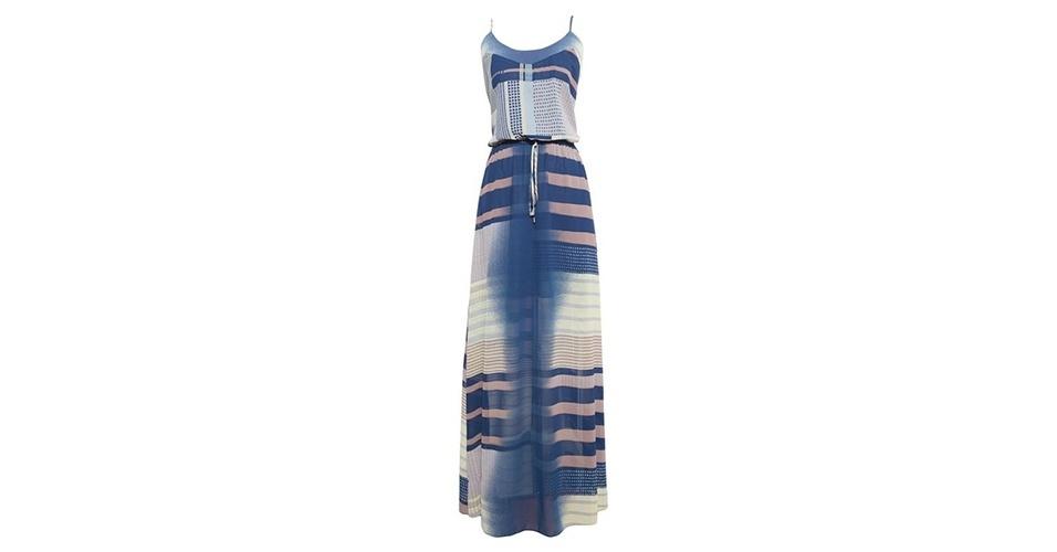 Vestido longo com listras; R$ 598, da Shop 126 no Oqvestir (www.oqvestir.com.br) Preço pesquisado em janeiro de 2014 e sujeito a alterações