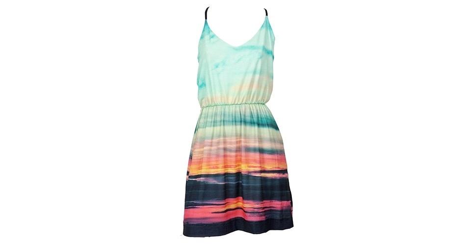 Vestido de alcinha com estampa de por-do-sol; R$ 259, na Wöllner (www.wollner.com.br) Preço pesquisado em janeiro de 2014 e sujeito a alterações