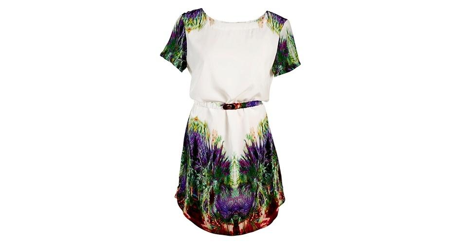 Vestido com detalhe estampado e cintura marcado; R$ 368, na Sacada (www.sacada.com) Preço pesquisado em janeiro de 2014 e sujeito a alterações