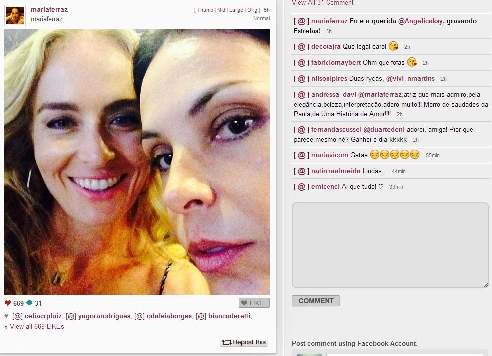 07.fev.2014 - Carolina Ferraz usou o Instagram para publicar uma foto com a amiga e apresentadora Angélica. Na legenda, a atriz conta que está gravando o programa