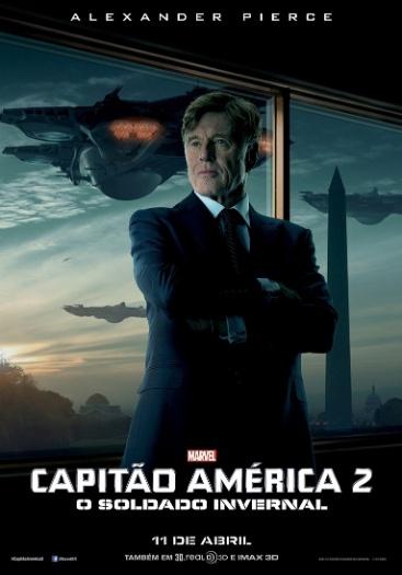 """Cartaz de """"Capitão América 2: O Soldado Invernal"""" mostra Robert Redford no papel de Alexander Pierce"""