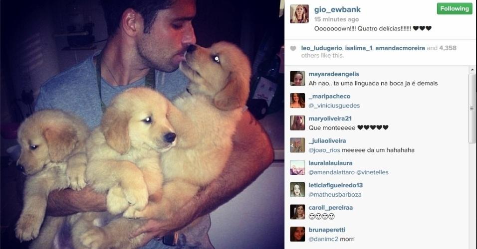 11.fev.2014 - Giovanna Ewbank mostra foto de Bruno Gagliasso com filhotes de cachorro no colo