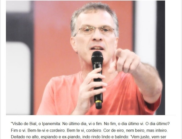 Versículo sobre as poesias de Bial durante as eliminações do
