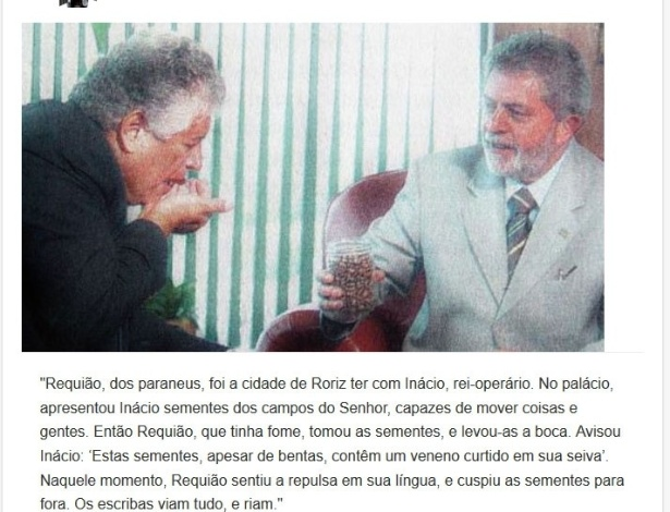 Versículo sobre encontro entre Lula e Requião, que resolveu experimentar uma mamona