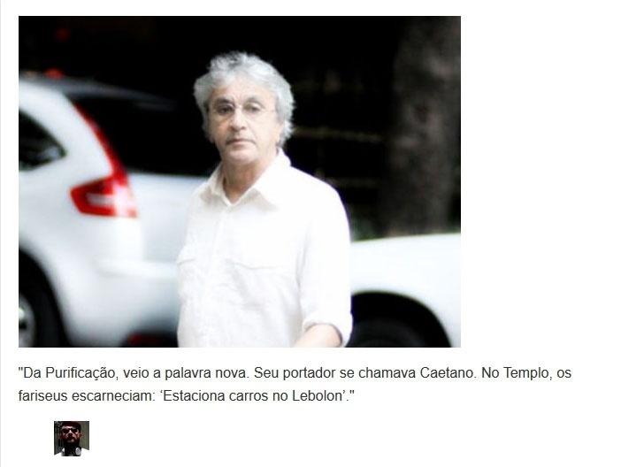 Versículo sobre nota do site Ego que informava que Caetano Veloso estacionara seu carro no Leblon