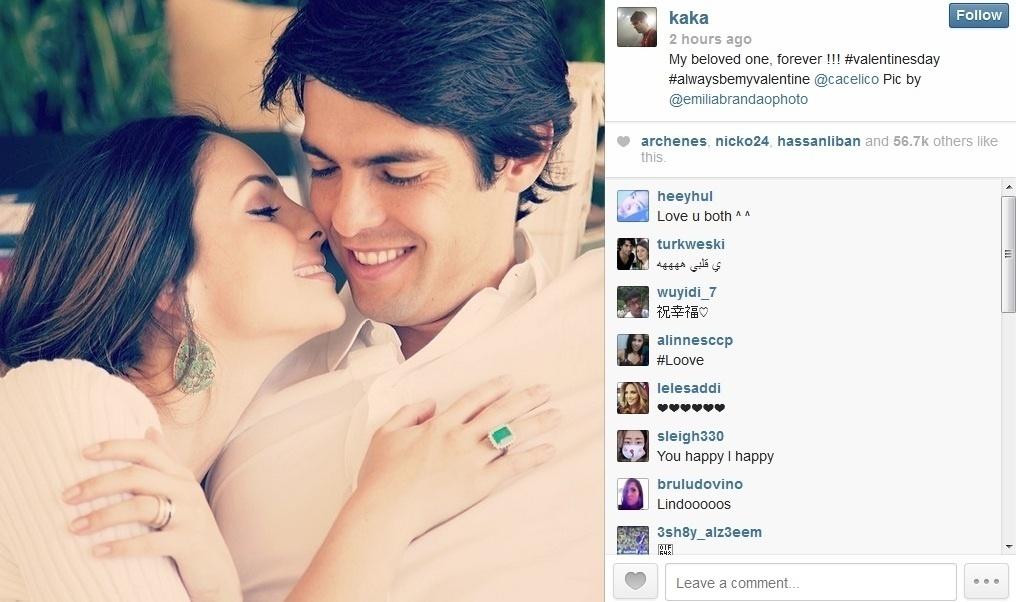 14.fev.2014 - Kaká se declarou para a mulher, Carol Celico, no