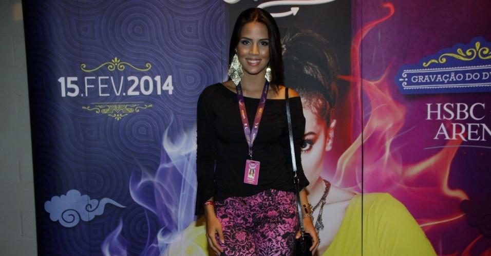 15.fev.2014 - Pérola Faria no show de gravação do 1º DVD da cantora Anitta. Com o tema
