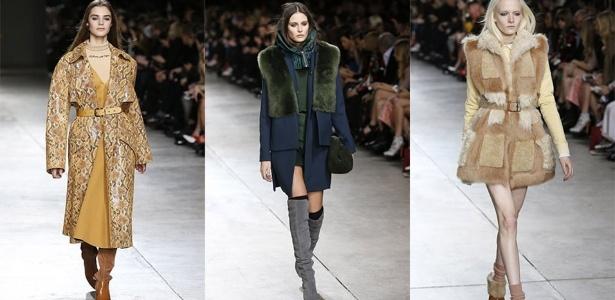 16.fev.2014 - Desfile da Topshop Unique mostrou casacos pesados, pele e botas de cano baixo e alta na semana de moda de Londres