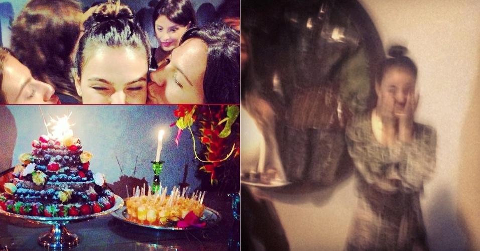 16.fev.2014 - Isis Valverde ganha festa de aniversário surpresa e se emociona com carinho