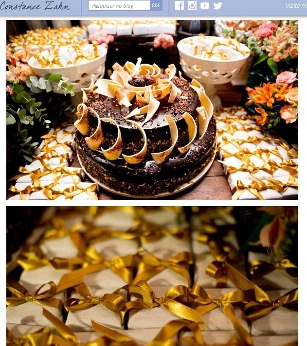 1º.fev.2014 - Detalhe do bolo de chocolate com biscuit de nozes do casamento de Giselle Itié e Emílio Dantas