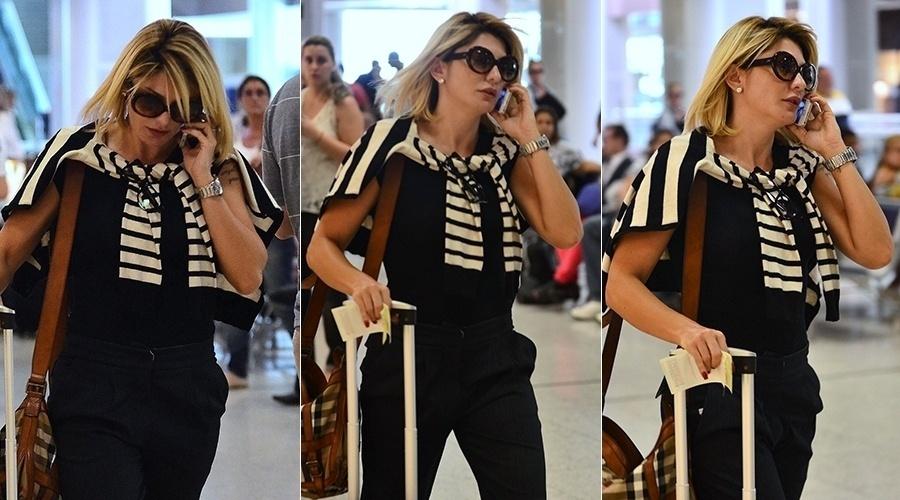 19.fev.2014 - Após término de namoro com Sheik, Fontenelle embarca em aeroporto do Rio