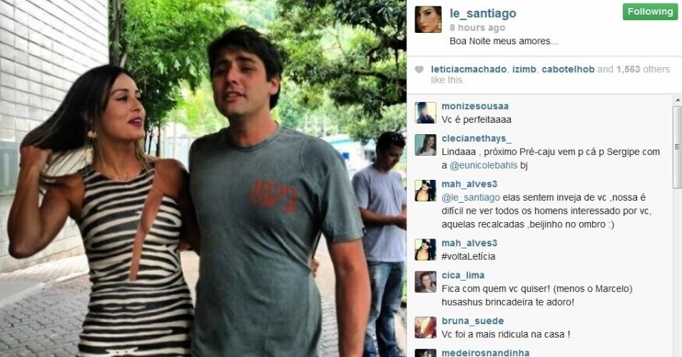20.fev.2014 - Letícia posta foto com Bruno de Luca em sua conta do Instagram. Na imagem, a ex-BBB aparece jogando o cabelo e com seu