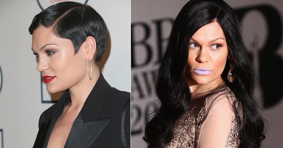 FEVEREIRO - Durante a premiação Brit Awards, em Londres, a cantora Jessie J mostrou o novo visual. Ela apostou em um aplique para ganhar volume e comprimento
