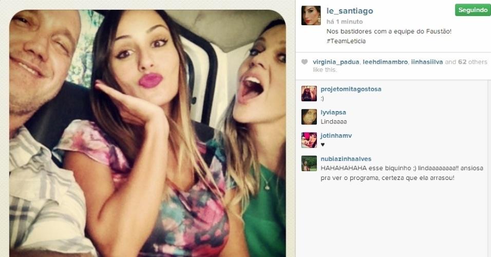 21.fev.2014 - Letícia posta foto nos bastidores da gravação do Domingão do Faustão