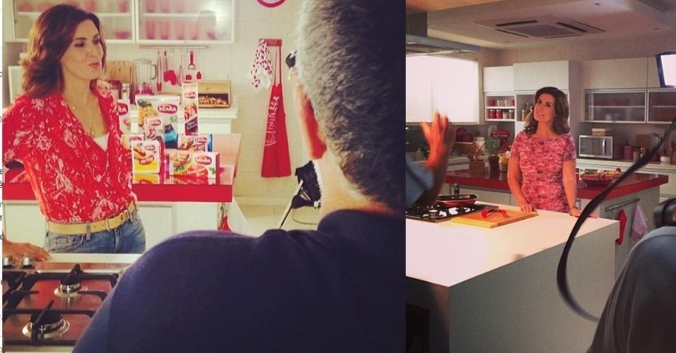 21.fev.2014- Fátima Bernardes mostra foto dos bastidores de gravação de campanha publicitária que deve ir ao ao no domingo no intervalo do