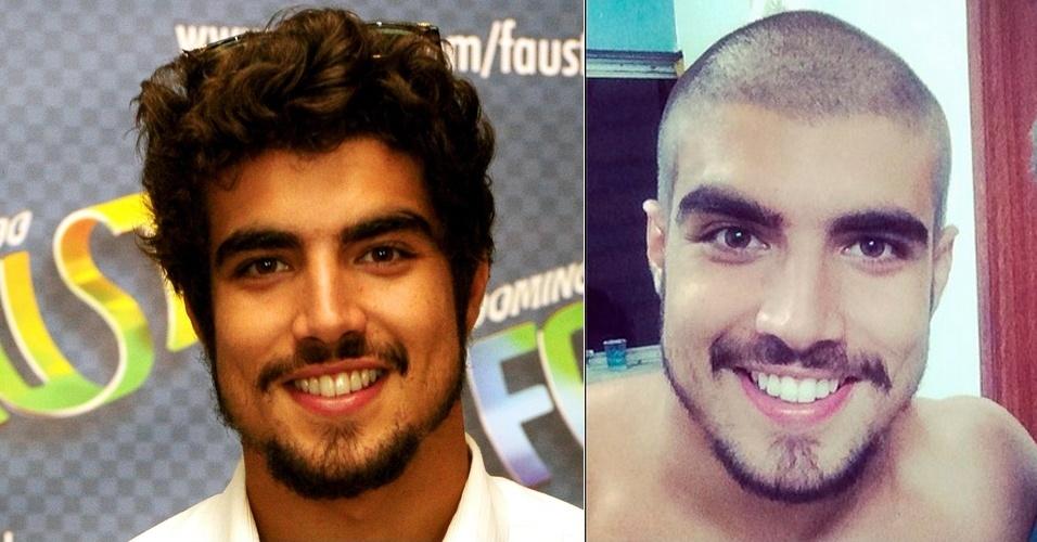 FEVEREIRO - O ator Caio Castro raspou o cabelo totalmente ao participar de um quadro do programa