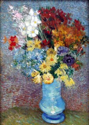"""Reprodução da pintura """"Flores em um Vaso Azul"""" (1887), de Van Gogh, que foi analisada usando uma técnica em microscópio"""