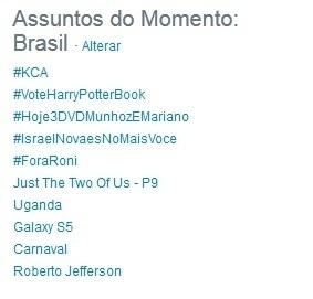 25.fev.2014 - Internautas emplacaram por dois dias seguidos a hashtag #ForaRoni no Twitter