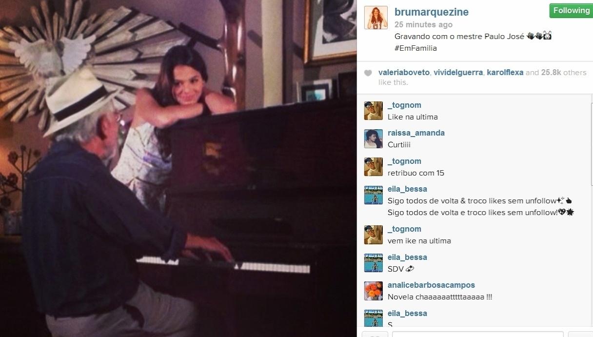 25.fev.2014- Bruna Marquezine publica foto de gravação da novela.