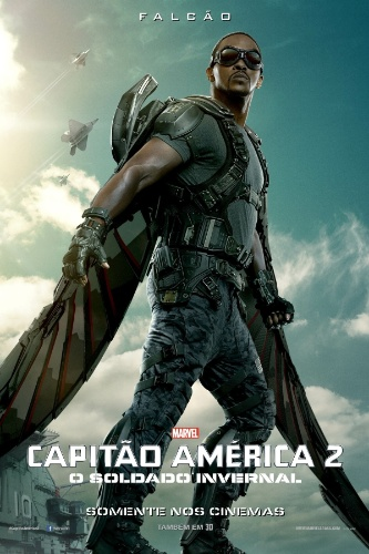 """O personagem Falcão (Anthony Mackie) aparece em pôster de """"Capitão América 2: O Soldado Invernal"""""""