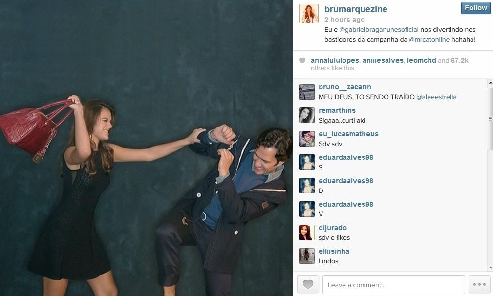 26.fev.2014 - Bruna Marquezine divulgou imagem de momento descontraído ao lado de Gabriel Braga Nunes. Os atores que estão no ar na novela
