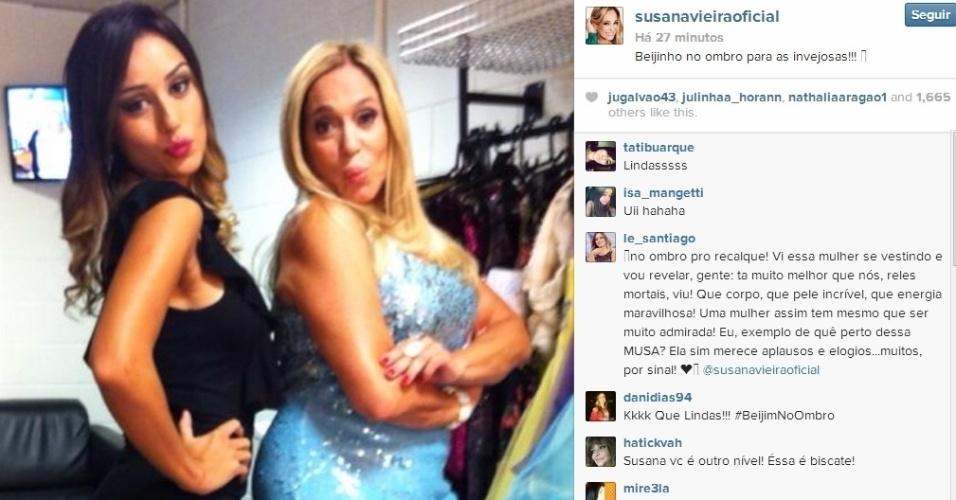 """26.fev.2014 - Em outro post, Susana Vieira deu seu recado ao lado da ex-BBB: """"Beijinho no ombro para as invejosas!!!"""""""