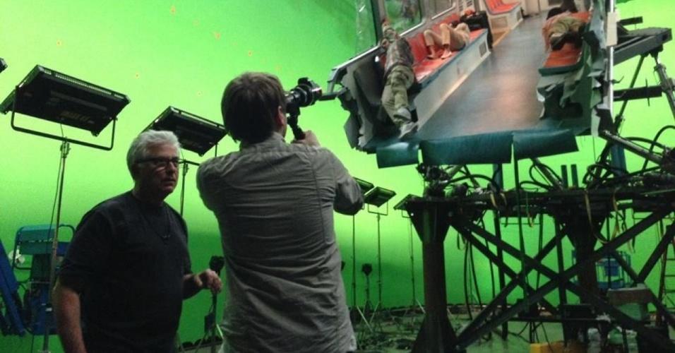 """Cena das gravações de """"Godzilla"""", do diretor Gareth Edwards"""